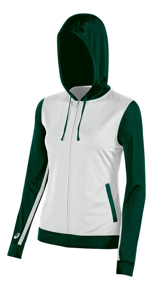 Womens ASICS Lani Jacket Half-Zips & Hoodies Technical Tops - White/Forest L