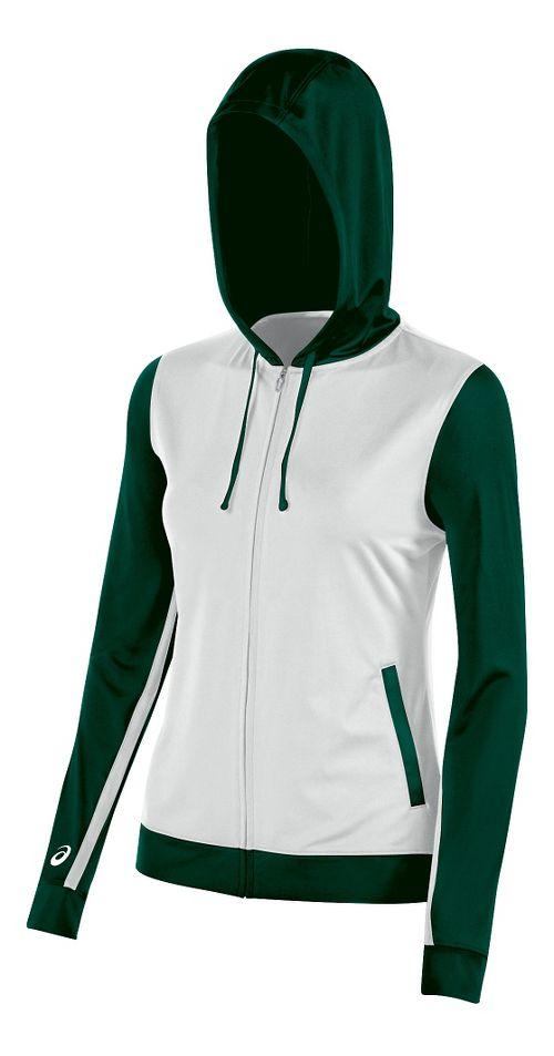 Womens ASICS Lani Jacket Half-Zips & Hoodies Technical Tops - White/Forest XXL