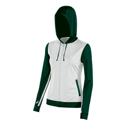 Womens ASICS Lani Jacket Half-Zips & Hoodies Technical Tops - White/Forest M