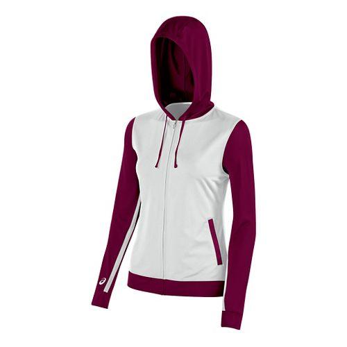 Womens ASICS Lani Jacket Half-Zips & Hoodies Technical Tops - White/Cardinal L
