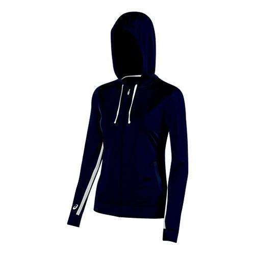 Womens ASICS Lani Jacket Half-Zips & Hoodies Technical Tops - Navy M
