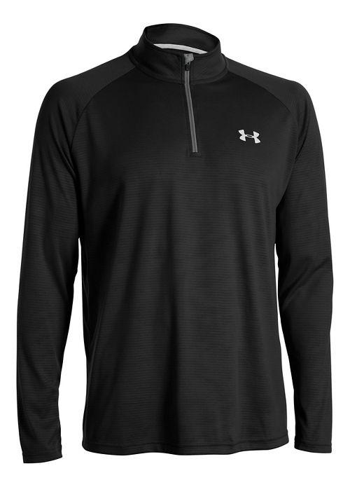 Mens Under Armour Tech 1/4 Zip Long Sleeve Technical Tops - Black/White L-T
