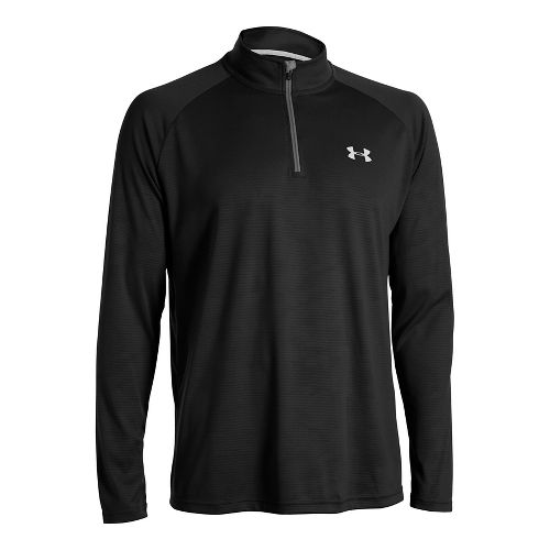 Mens Under Armour Tech 1/4 Zip Long Sleeve Technical Tops - Black/White XXL