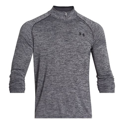 Mens Under Armour Tech 1/4 Zip T Long Sleeve Technical Tops - Black/Graphite SR