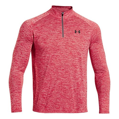 Mens Under Armour Tech 1/4 Zip T Long Sleeve Technical Tops - Red/Graphite XLR
