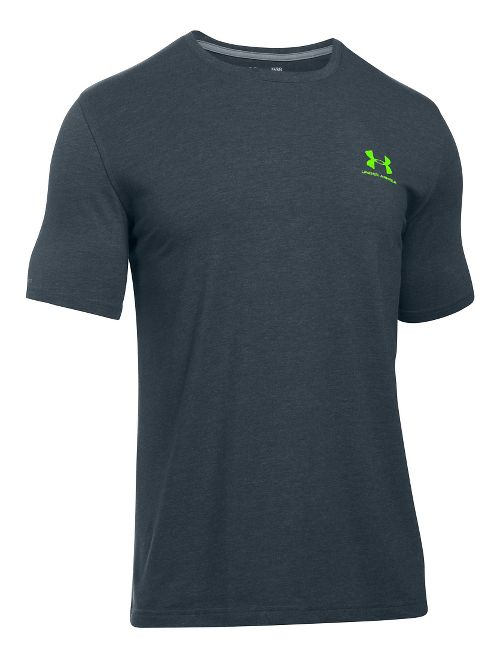 Mens Under Armour Charged Cotton Left Chest Lockup T Short Sleeve Technical Tops - Stealth Grey S