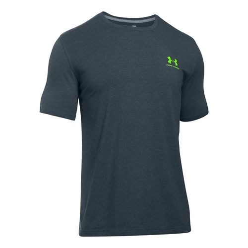 Mens Under Armour Charged Cotton Left Chest Lockup T Short Sleeve Technical Tops - Stealth ...