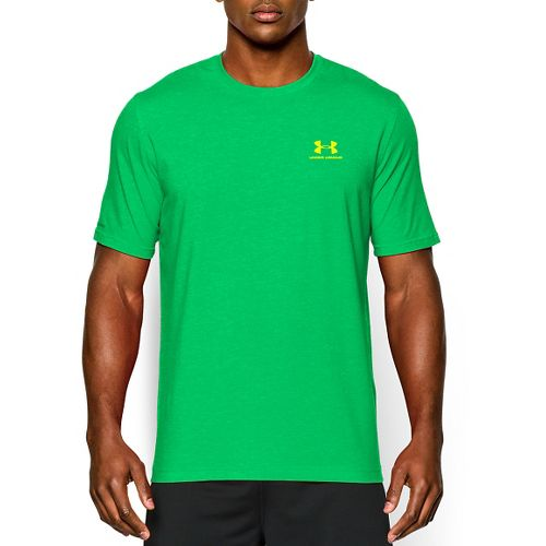 Mens Under Armour Charged Cotton Left Chest Lockup T Short Sleeve Technical Tops - Green ...