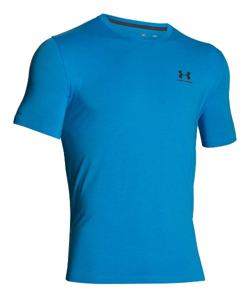 Mens Under Armour Charged Cotton Left Chest Lockup T Short Sleeve Technical Tops - Electric Blue S