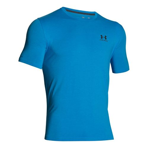 Mens Under Armour Charged Cotton Left Chest Lockup T Short Sleeve Technical Tops - Electric ...