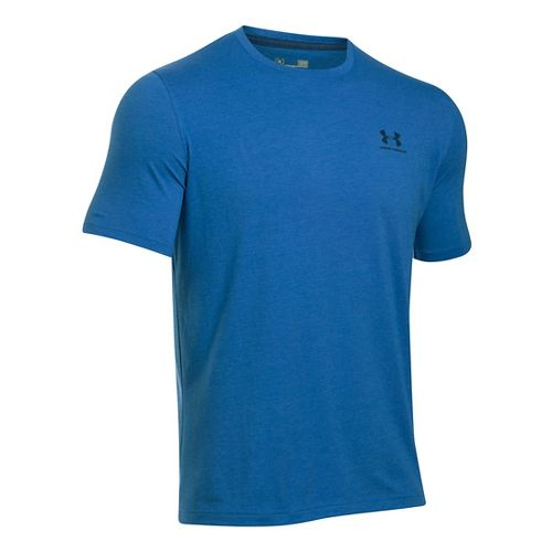 Mens Under Armour Charged Cotton Left Chest Lockup T Short Sleeve Technical Tops - Squadron ...