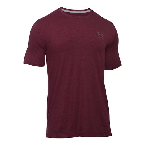 Mens Under Armour Charged Cotton Left Chest Lockup T Short Sleeve Technical Tops - Dark ...