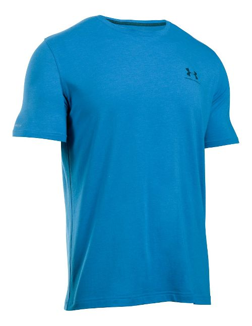Mens Under Armour Charged Cotton Left Chest Lockup T Short Sleeve Technical Tops - Brilliant Blue L