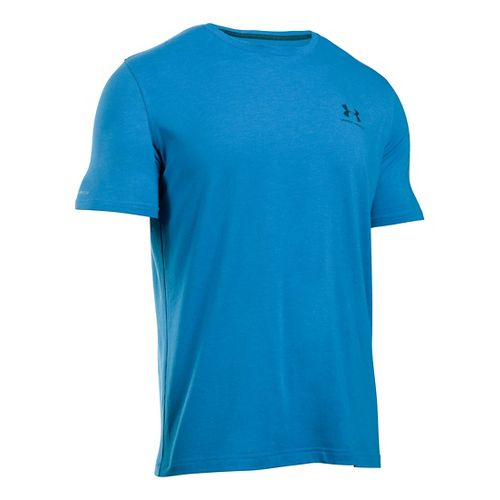 Mens Under Armour Charged Cotton Left Chest Lockup T Short Sleeve Technical Tops - Brilliant Blue S