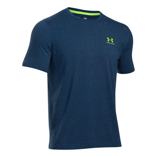 Mens Under Armour Charged Cotton Left Chest Lockup T Short Sleeve Technical Tops - Blackout ...