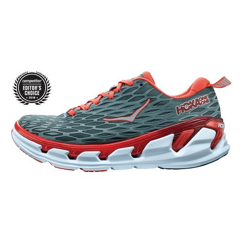 Womens Hoka One One Vanquish 2 Running Shoe - Grey/Poppy Red 9