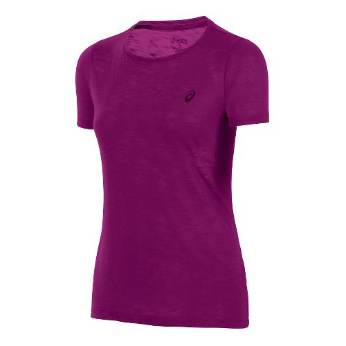 Womens ASICS Layering Short Sleeve Technical Tops - Plum M