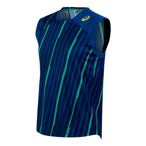 Mens ASICS Athlete Sleeveless & Tank Technical Tops - Blue/Green Stripe XL