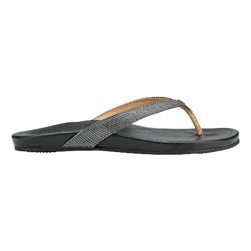 Womens OluKai Hi'ona Sandals Shoe - Pewter/Black 10