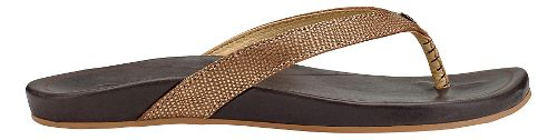 Womens OluKai Hi'ona Sandals Shoe - Bronze/Dark Java 7
