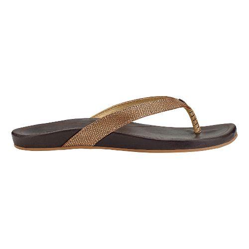 Womens OluKai Hi'ona Sandals Shoe - Bronze/Dark Java 6