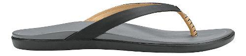Womens OluKai Ho'opio Leather Sandals Shoe - Black/Charcoal 7