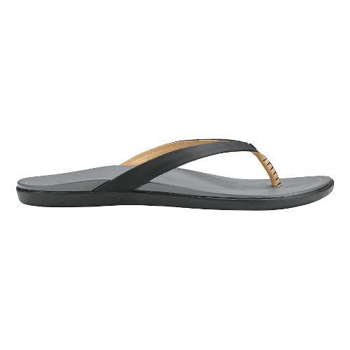 Womens OluKai Ho'opio Leather Sandals Shoe - Black/Charcoal 10