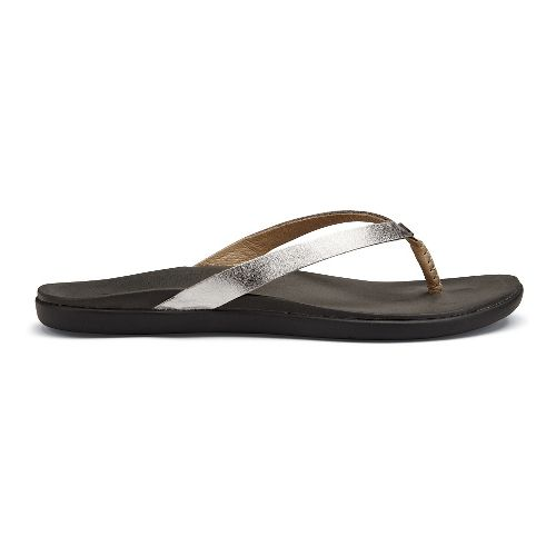 Womens OluKai Ho'opio Leather Sandals Shoe - Silver/Charcoal 7