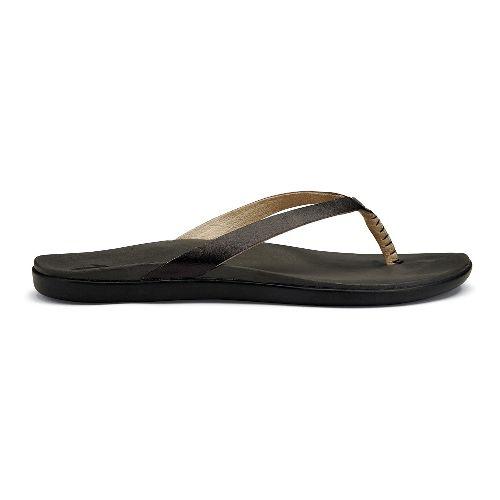 Womens OluKai Ho'opio Leather Sandals Shoe - Onyx/Black 6