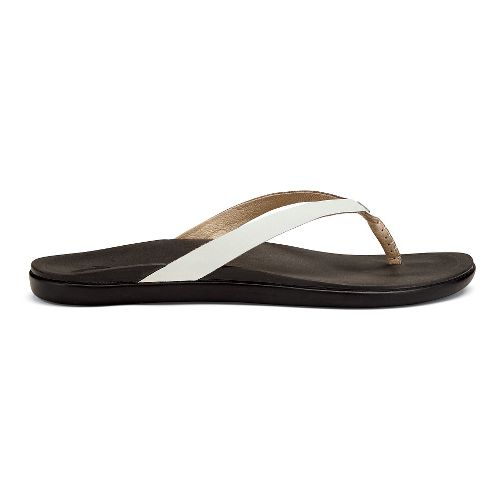 Womens OluKai Ho'opio Leather Sandals Shoe - Pearl/Black 7