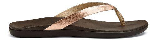 Womens OluKai Ho'opio Leather Sandals Shoe - Copper/Dark Java 9
