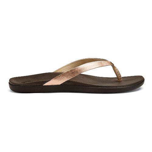Womens OluKai Ho'opio Leather Sandals Shoe - Copper/Dark Java 7