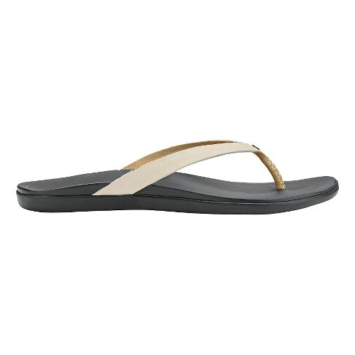 Womens OluKai Ho'opio Leather Sandals Shoe - Tapa/Black 10