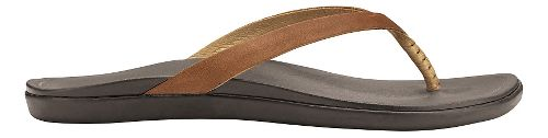 Womens OluKai Ho'opio Leather Sandals Shoe - Sahara/Dark Java 8