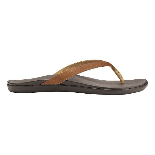 Womens OluKai Ho'opio Leather Sandals Shoe - Sahara/Dark Java 6
