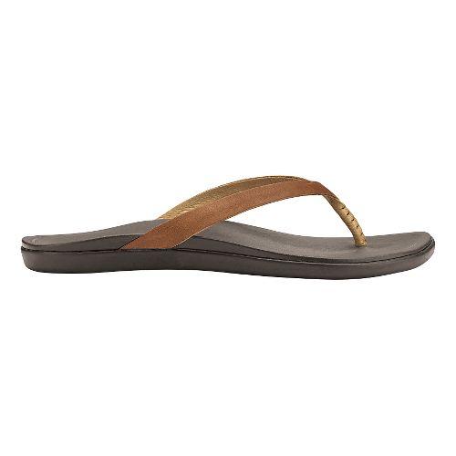Womens OluKai Ho'opio Leather Sandals Shoe - Sahara/Dark Java 9
