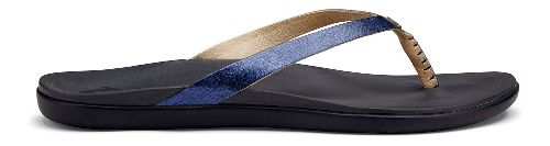 Womens OluKai Ho'opio Leather Sandals Shoe - Midnight/Trench Blue 5