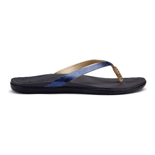 Womens OluKai Ho'opio Leather Sandals Shoe - Midnight/Trench Blue 6