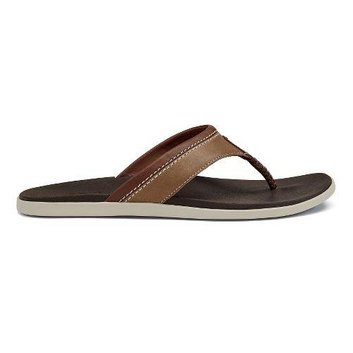 Mens OluKai Polena Sandals Shoe - Tan/Dark Java 7