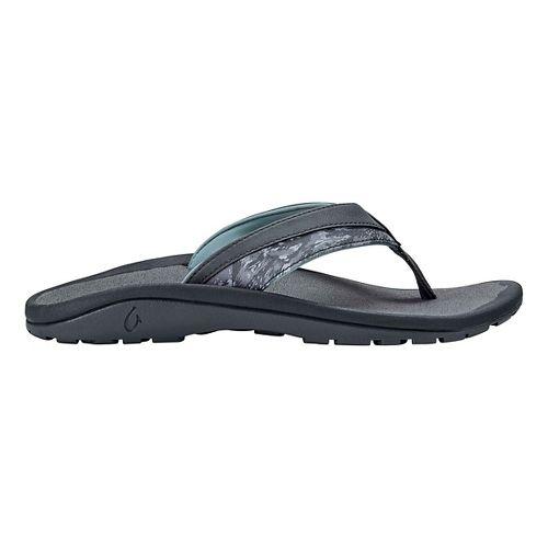 Mens OluKai 'Ohana Koa Sandals Shoe - Charcoal/Dive Camo 14