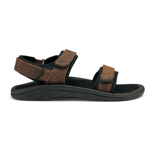 Mens OluKai Hokua Pahu Leather Sandals Shoe - Rum/Black 12