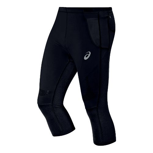 Mens ASICS FujiTrail Knee Tights & Leggings Pants - Black XXL