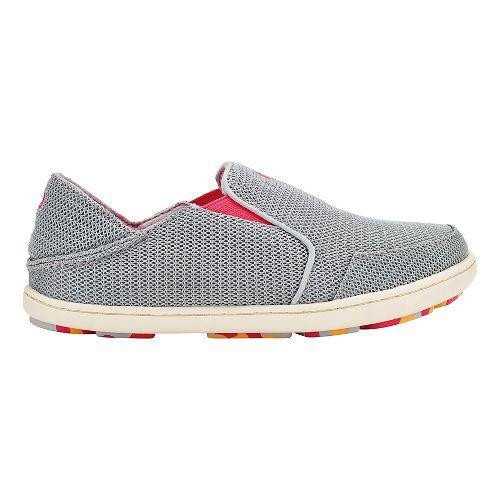 OluKai Nohea Mesh Casual Shoe - Pale Grey/Dark Hibiscus 3Y