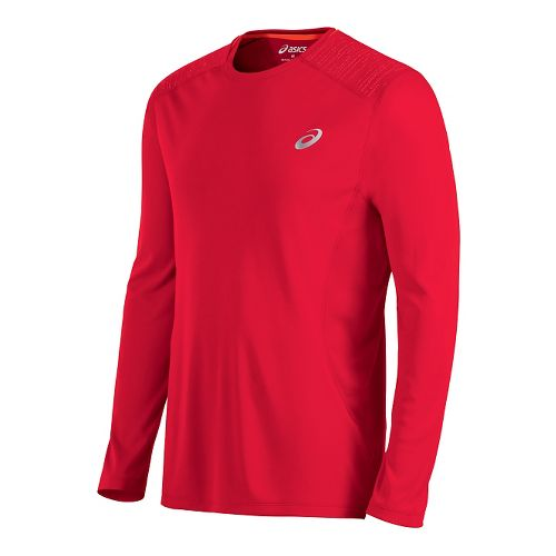 Mens ASICS Lite-Show Long Sleeve Technical Tops - Formula Red L