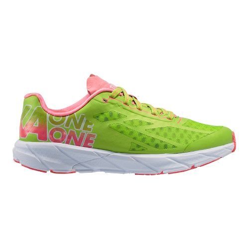 Womens Hoka One One Tracer Running Shoe - Green/Pink 9