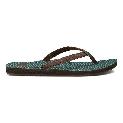 Womens Sanuk Poncho Viva Sandals Shoe - Dark Brown/Mallard 6