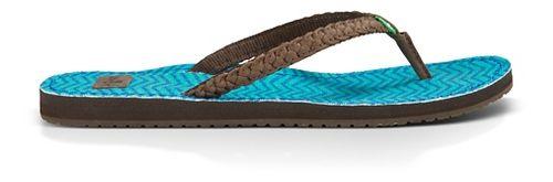 Womens Sanuk Poncho Viva Sandals Shoe - Brown/Turq Congo 6