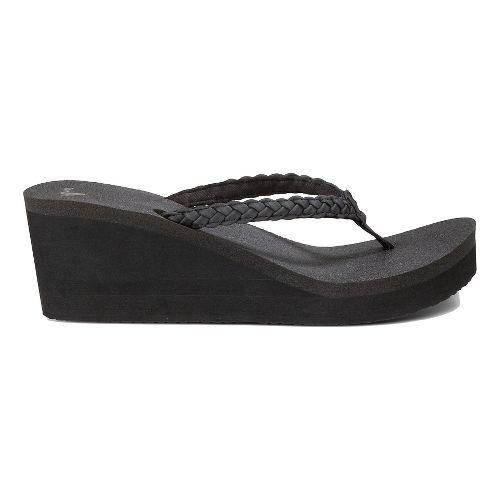 Womens Sanuk Yoga Braided Wedge Sandals Shoe - Black 9