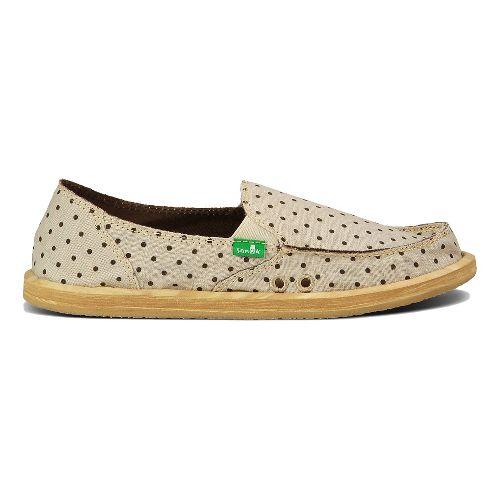 Womens Sanuk Hot Dotty Casual Shoe - Natural/Brown Dots 10