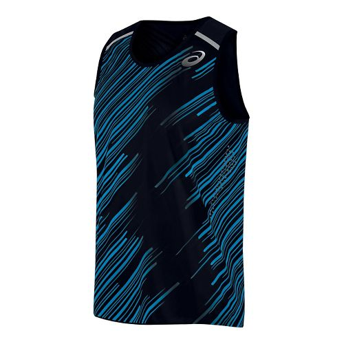 Mens ASICS Impact Singlet Sleeveless & Tank Technical Tops - Black S
